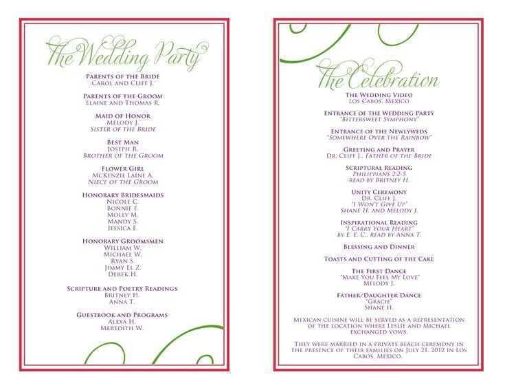 Wedding Reception Programme Template Wedding Itinerary Templates Free