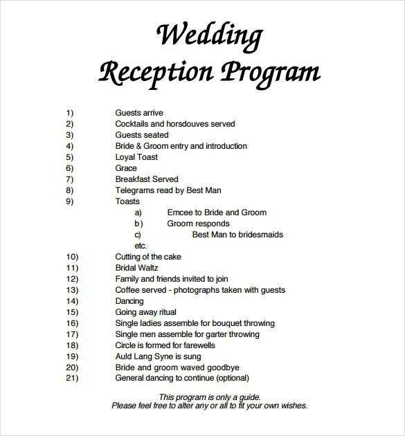 Wedding Reception Programme Template Wedding Reception Program Template Free