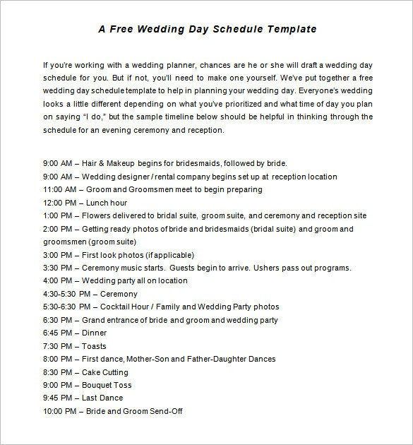 Wedding Reception Timeline Template 29 Wedding Timeline Template Word Excel Pdf Psd