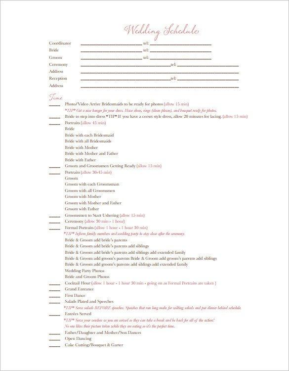 Wedding Reception Timeline Template 29 Wedding Timeline Template Word Excel Pdf Psd