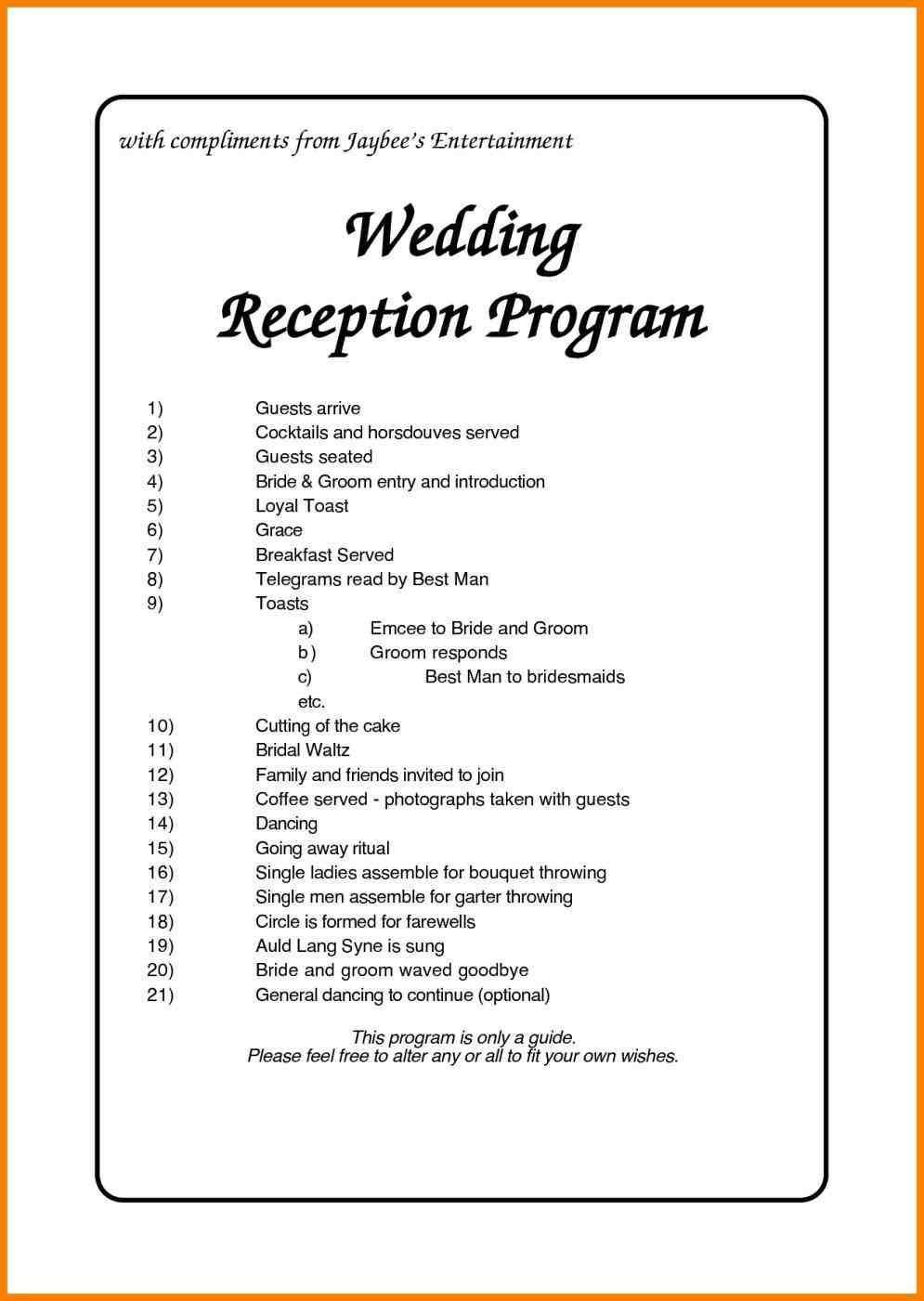 Wedding Reception Timeline Template Nigerian Wedding Reception Program Weddings
