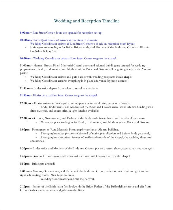 Wedding Reception Timeline Template Sample Wedding Timeline 7 Documents In Pdf