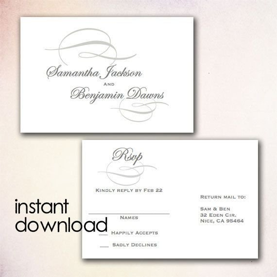 Wedding Rsvp Cards Template Diy Wedding Rsvp Postcard Template Instant Download