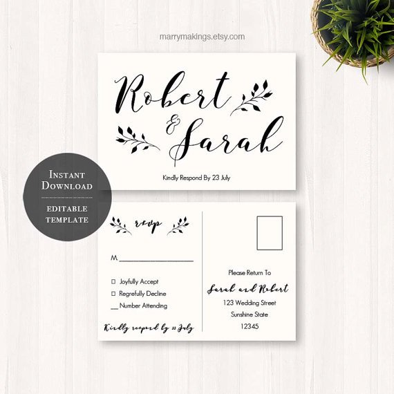 Wedding Rsvp Cards Template Diy Wedding Rsvp Rsvp Template Wedding Printable