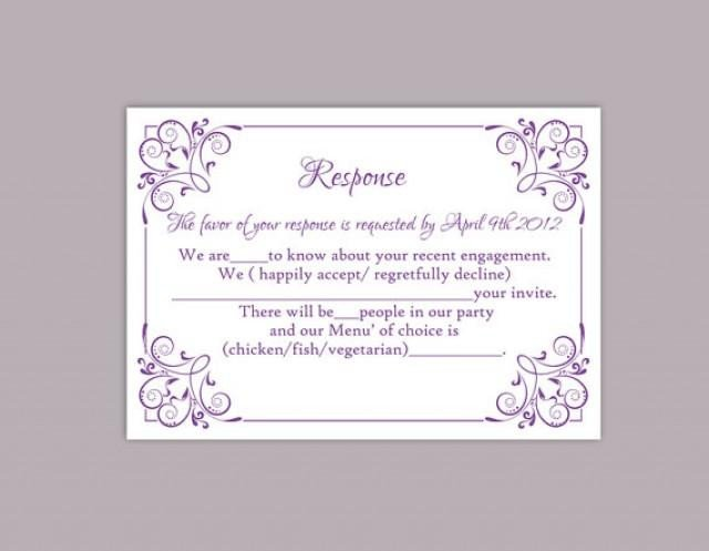 Wedding Rsvp Cards Template Diy Wedding Rsvp Template Editable Text Word File Download
