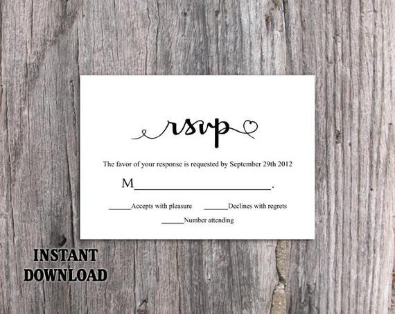 Wedding Rsvp Cards Template Diy Wedding Rsvp Template Editable Word by thedesignsenchanted