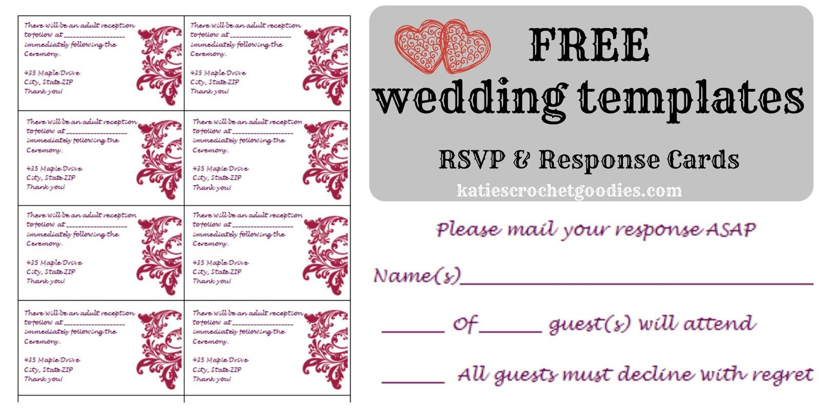 Wedding Rsvp Cards Template Free Wedding Templates Rsvp & Reception Cards Katie S