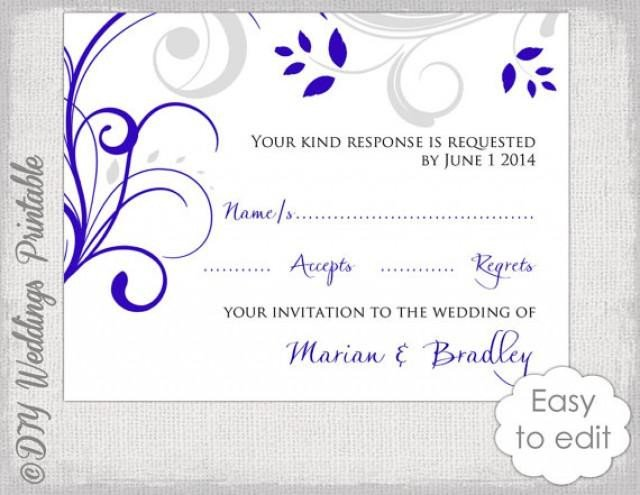 Wedding Rsvp Cards Template Response Card Template Diy Royal Blue & Silver Gray