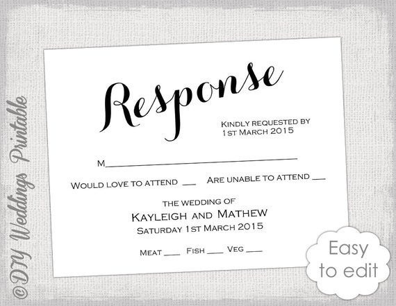 Wedding Rsvp Cards Template Rsvp Template Diy Calligraphy Carolyna Printable