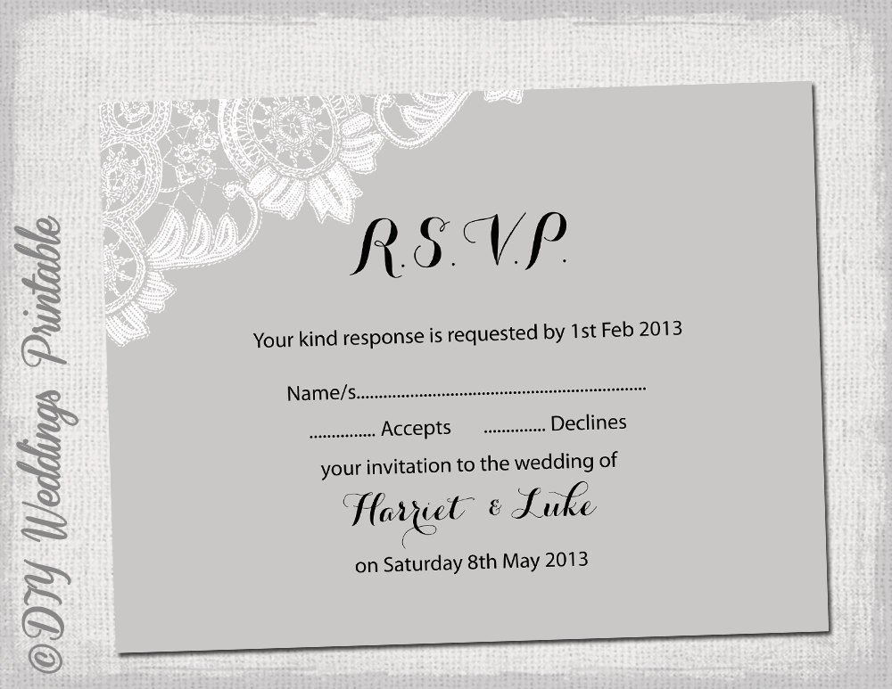 Wedding Rsvp Cards Template Wedding Rsvp Template Diy Silver Gray Antique