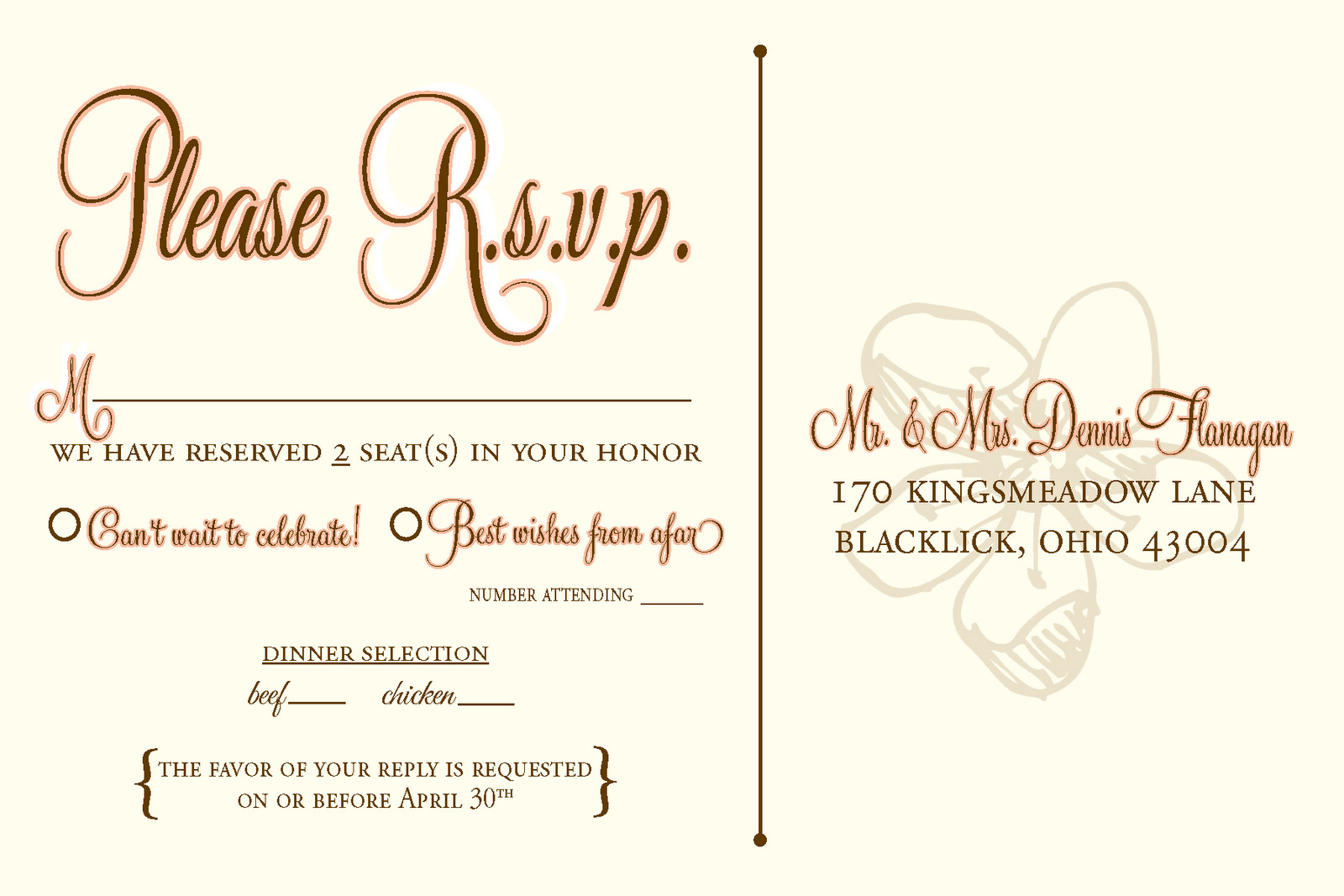 Wedding Rsvp Cards Templates Designs by N Wedding Rsvp Postcards