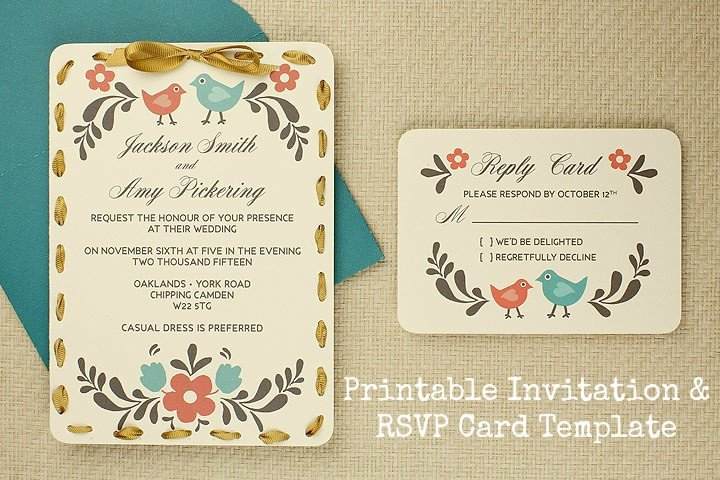 Wedding Rsvp Cards Templates Diy Tutorial Free Printable Invitation and Rsvp Card