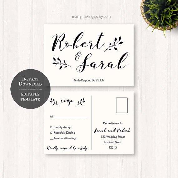 Wedding Rsvp Cards Templates Diy Wedding Rsvp Rsvp Template Wedding Printable
