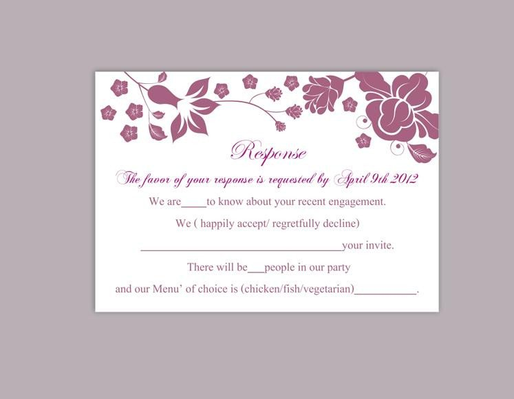 Wedding Rsvp Cards Templates Diy Wedding Rsvp Template Editable Word File Instant