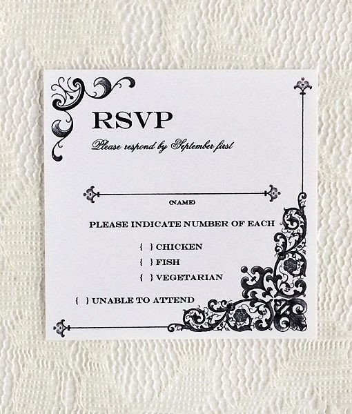 Wedding Rsvp Cards Templates Vintage Iron & Lace Square Rsvp Template