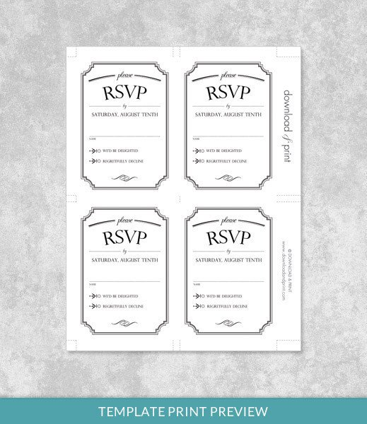 Wedding Rsvp Cards Templates Vintage Wedding Type Rsvp Card Template