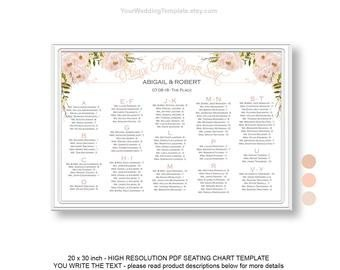 Wedding Seating Chart Poster Templates Peach and Beige