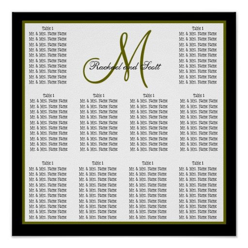 Wedding Seating Chart Poster Templates Template Wedding Seating Chart Monogram Names Poster