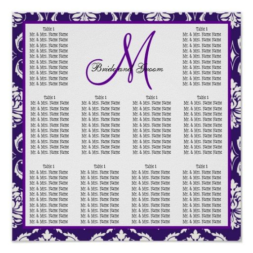 Wedding Seating Chart Poster Templates Template Wedding Seating Chart Purple Damask Poster