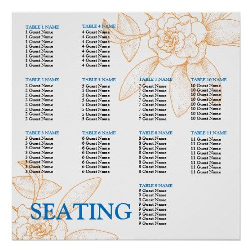 Wedding Seating Chart Poster Templates Wedding Reception Seating Chart Template Poster