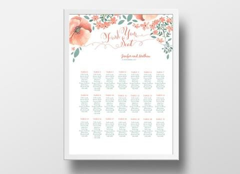 Wedding Seating Chart Poster Templates Wedding Seating Chart Landscape Poster Diy