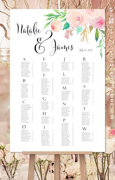 Wedding Seating Chart Poster Templates Wedding Seating Chart Poster Reception Table Plan