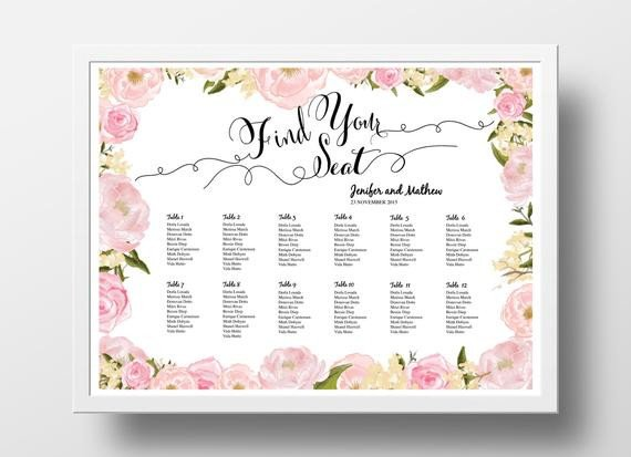 Wedding Seating Chart Poster Templates Wedding Seating Chart Poster Template Wedding Table Plan