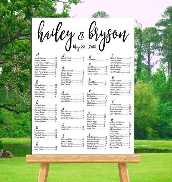 Wedding Seating Chart Poster Templates Wedding Seating Chart Printable Alphabetical or by Table
