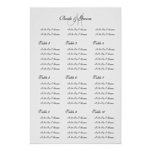 "Wedding Seating Chart Poster Templates Wedding Seating Chart Template ""make Your Own"" Poster"