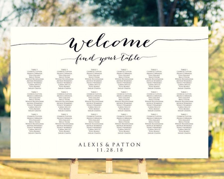 Wedding Seating Chart Poster Templates Wel E Wedding Seating Chart Template In Four Sizes
