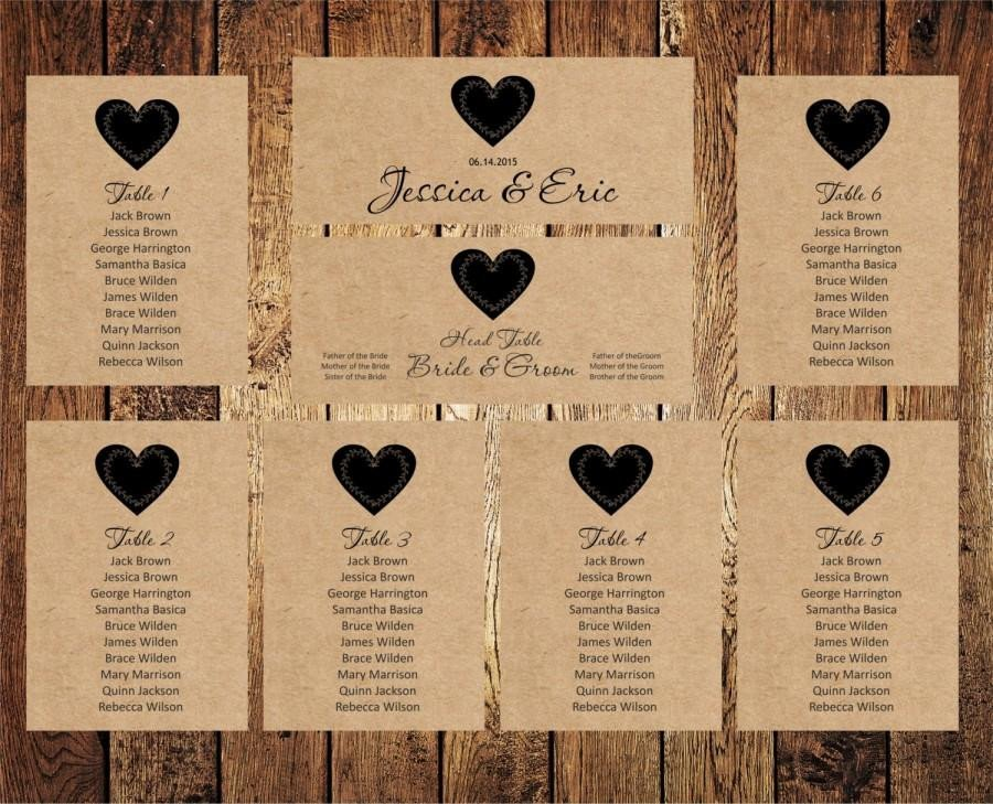 Wedding Seating Chart Template Wedding Seating Chart Editable Text Rustic Kraft Wedding