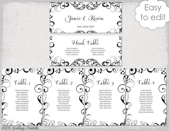 Wedding Seating Chart Template Wedding Seating Chart Template Black and White