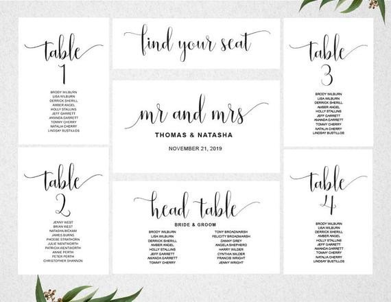 Wedding Seating Chart Template Wedding Seating Chart Template Instant Download Seating