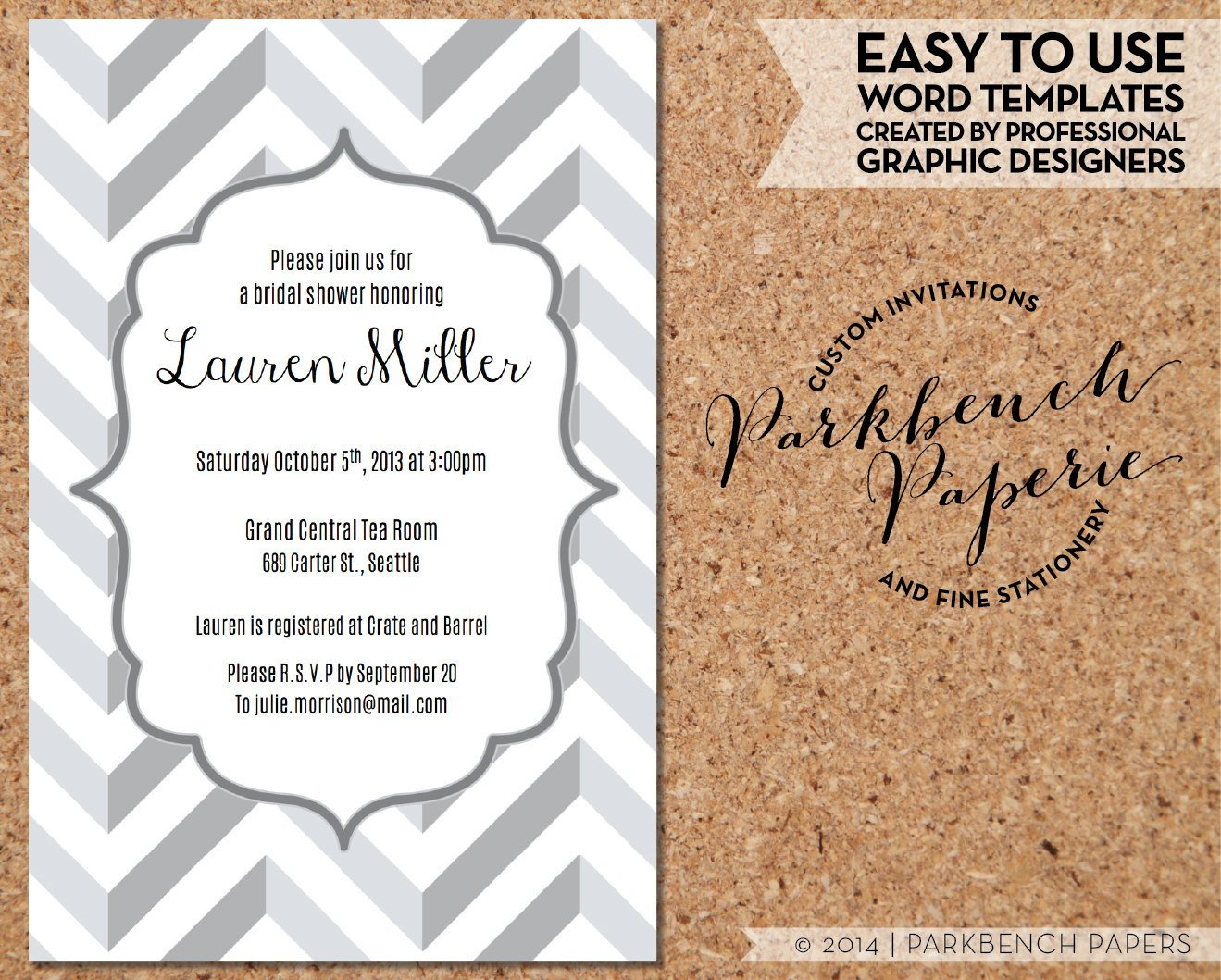 Wedding Shower Invitation Templates Bridal Shower Invitation Gray Chevron Diy Editable Word