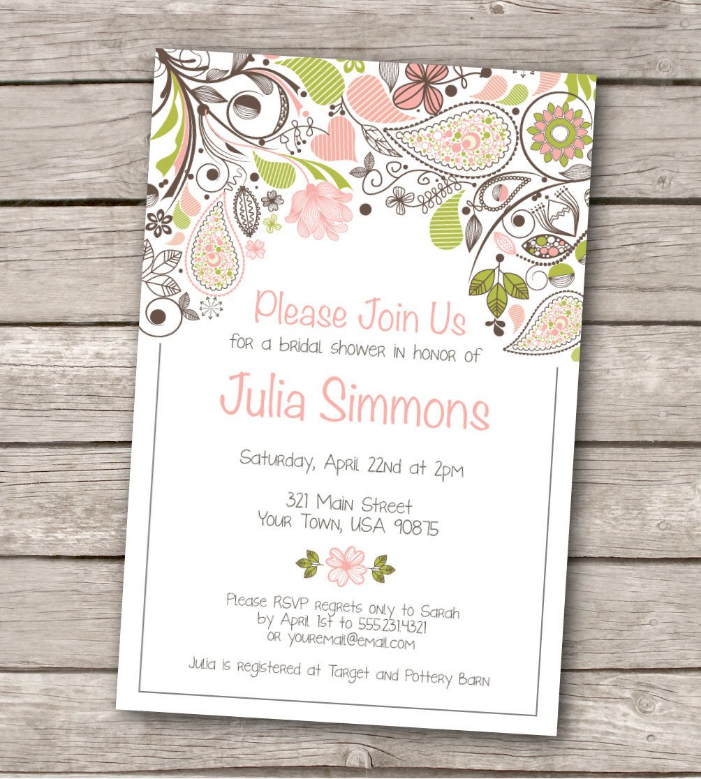Wedding Shower Invite Template Bridal Shower Invitation Custom Printable by Westandpine