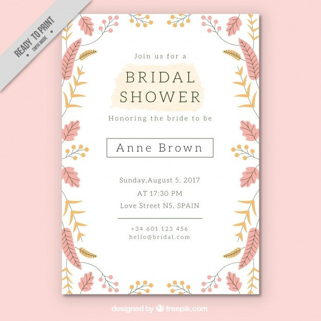Wedding Shower Invite Template Pretty Bridal Shower Invitation Template with Colored
