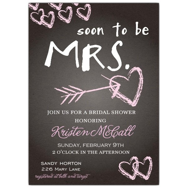 Wedding Shower Invite Templates Chalkboard Love Bridal Shower Invitations