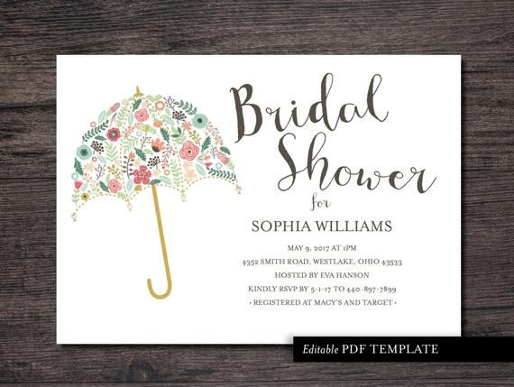Wedding Shower Invite Templates Umbrella Bridal Shower Invitation Template Bridal by