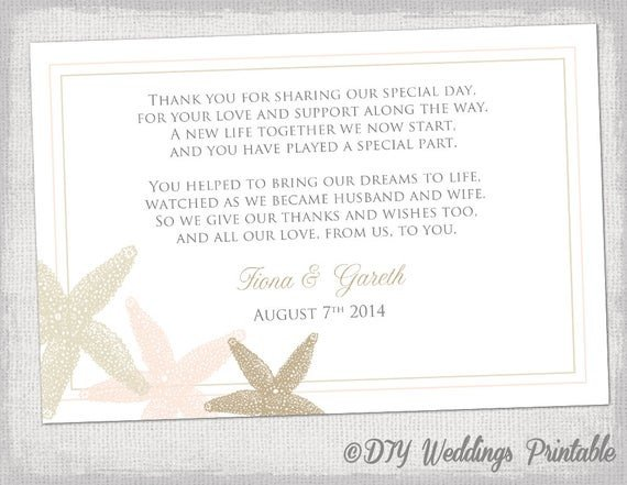 Wedding Thank You Card Template Beach Wedding Thank You Card Template Starfish