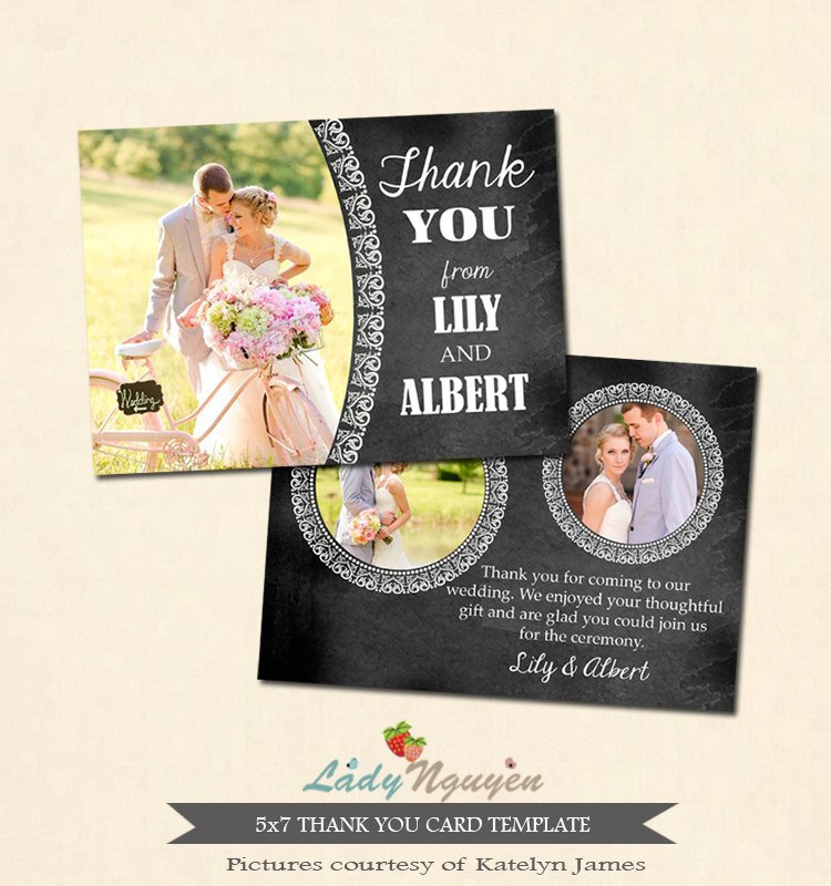 Wedding Thank You Card Template Instant Download 5x7 Wedding Thank You Card Template Ca220