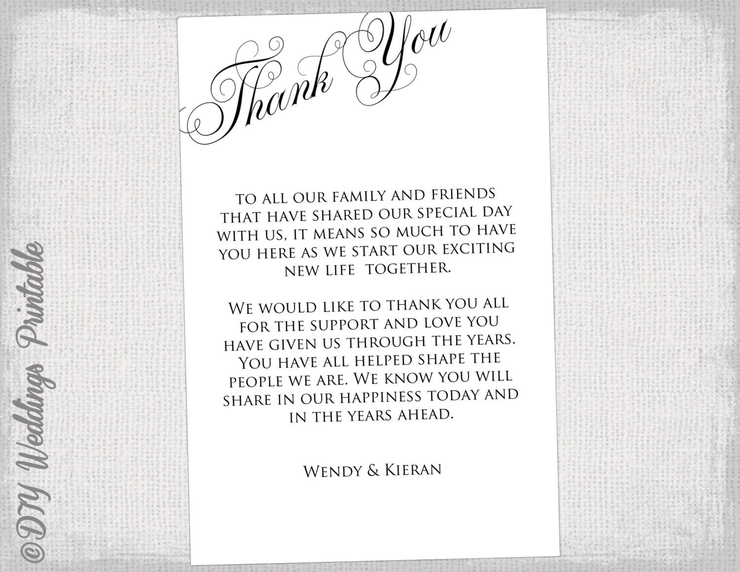 Wedding Thank You Card Template Printable Thank You Card Template Black & White Wedding Thank