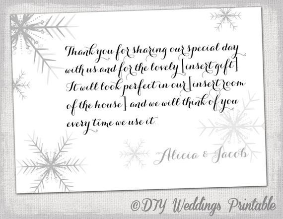 Wedding Thank You Card Template Snowflake Thank You Card Template Snowflake Winter