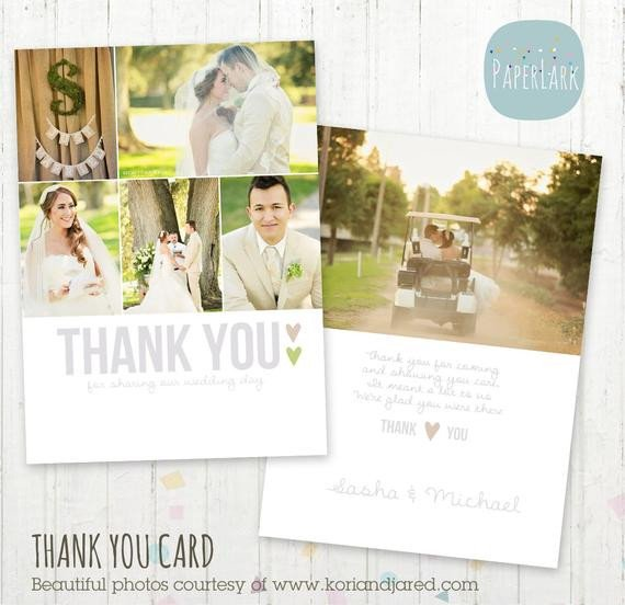 Wedding Thank You Card Template Wedding Thank You Card Shop Template by Paperlarkdesigns