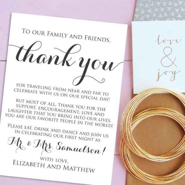 Wedding Thank You Card Template Wedding Thank You Cards Wel E Letter Printable Wedding