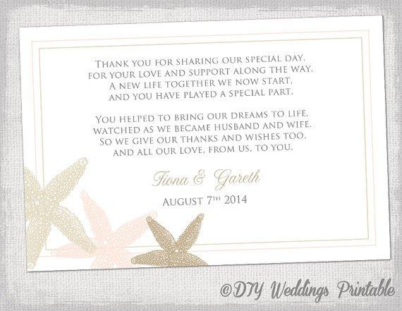 Wedding Thank You Cards Template Beach Wedding Thank You Card Template Starfish
