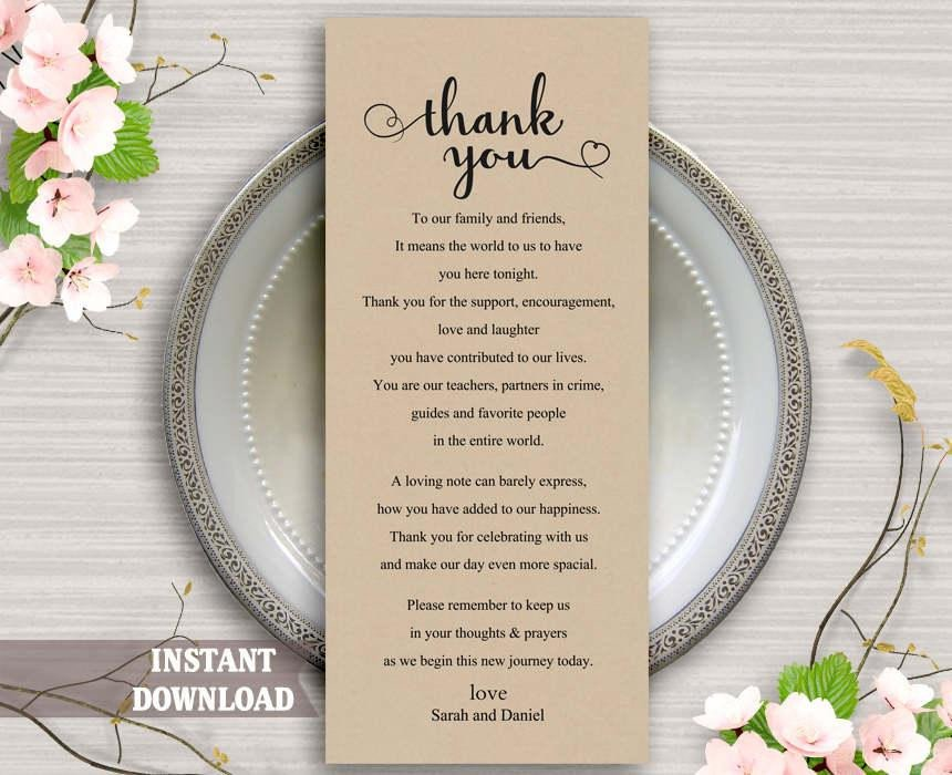 Wedding Thank You Cards Template Printable Thank You Place Card Wedding Thank You Card