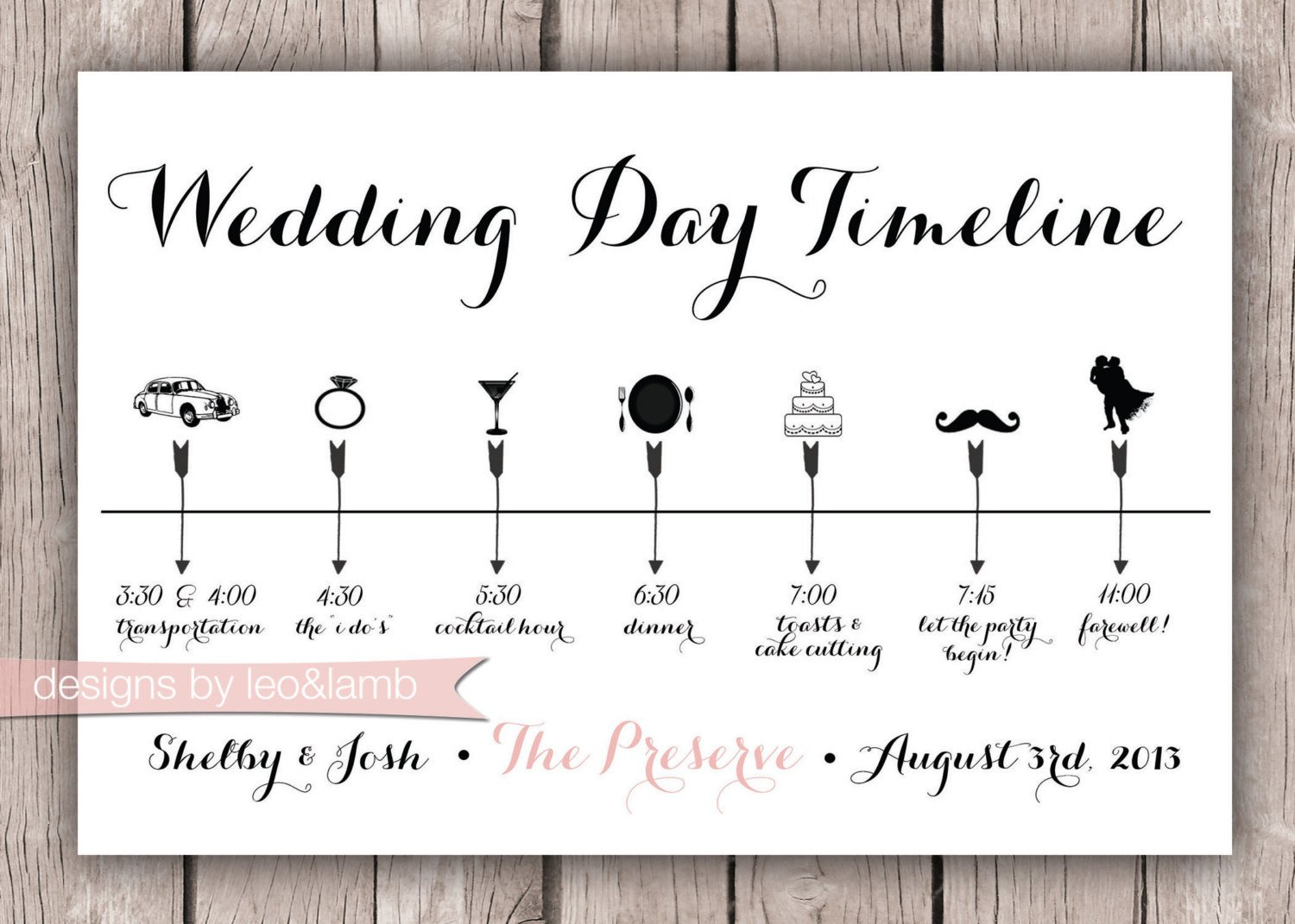 Wedding Timeline Template Free Custom Wedding Timeline 5x7 Digital File