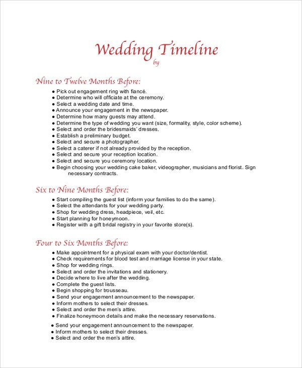 Wedding Timeline Template Free Sample Wedding Timeline 7 Documents In Pdf