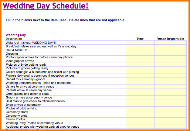 Wedding Timeline Template Free Wedding Day Timeline Template