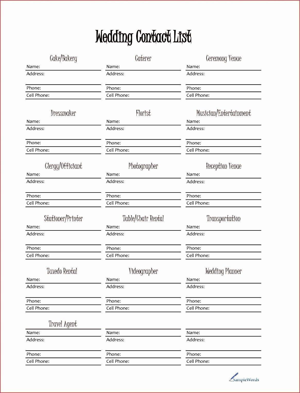Wedding Vendor List Template 10 Wedding Vendor List Template Excel Exceltemplates